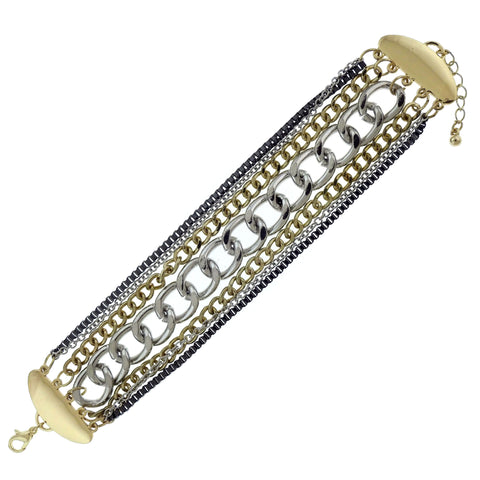 Layered Chain Fashion-Bracelet Gold-Tone & Silver-Tone Colored #2427