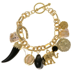 Elephants Horseshoe Ornate Charm-Bracelet With Crystal Accents White & Gold-Tone Colored #2432