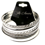 Silver-Tone Metal Multiple-Bangle-Bracelet #2433