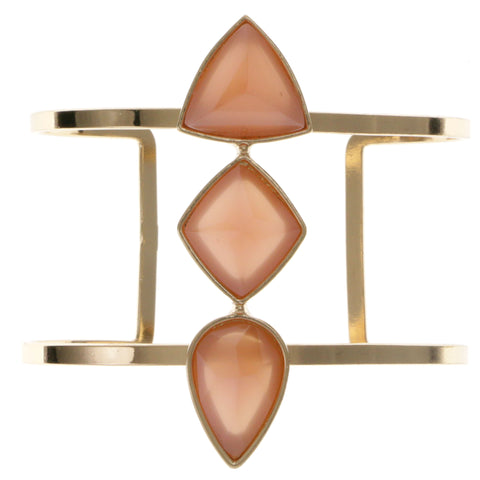 Peach & Gold-Tone Colored Metal Cuff-Bracelet With Faceted Accents #2435