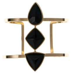 Black & Gold-Tone Colored Metal Cuff-Bracelet With Faceted Accents #2436