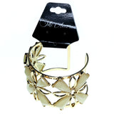 Gold-Tone & Peach Colored Metal Cuff-Bracelet With Crystal Accents #2442