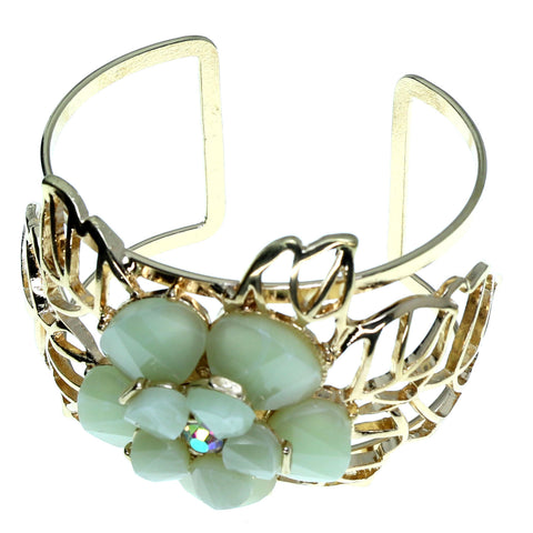 Flower Cuff-Bracelet With Crystal Accents Gold-Tone & Green Colored #2444