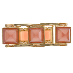 Pink & Gold-Tone Colored Metal Stretch-Bracelet With Faceted Accents #2450