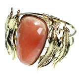 Leaf Hinged Cuff-Bracelet With Faceted Accents Gold-Tone & Peach Colored #2451