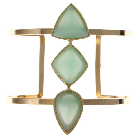 Green & Gold-Tone Colored Metal Cuff-Bracelet With Faceted Accents #2452