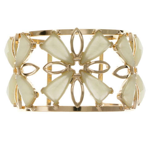 Green & Gold-Tone Colored Metal Cuff-Bracelet With Faceted Accents #2456