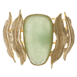 Leaves Cuff-Bracelet With Faceted Accents Green & Gold-Tone Colored #2458