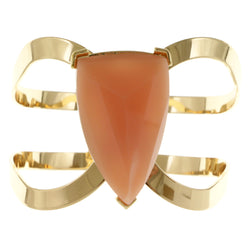Pink & Gold-Tone Colored Metal Bracelet With Faceted Accents #2459