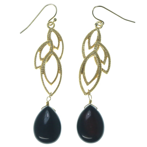 Gold-Tone & Black Colored Metal Dangle-Earrings With Bead Accents #1605