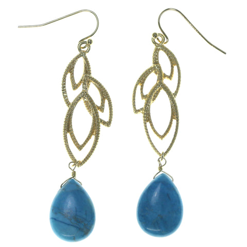 Gold-Tone & Blue Colored Metal Dangle-Earrings With Bead Accents #1606
