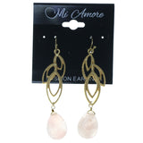 Gold-Tone & Pink Colored Metal Dangle-Earrings With Bead Accents #1607