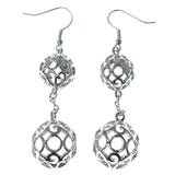 Silver-Tone & Clear Colored Metal Dangle-Earrings With Bead Accents #1610