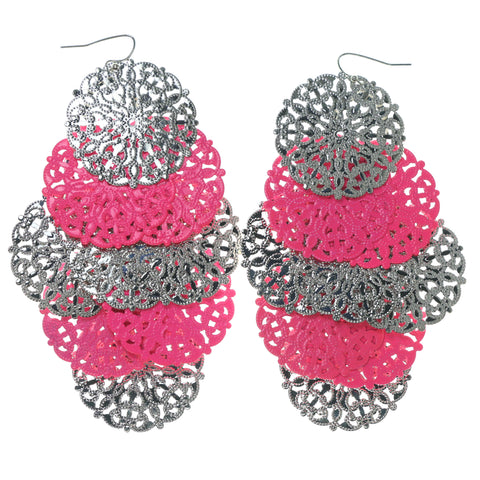 Silver-Tone & Pink Colored Metal Chandelier-Earrings #1612