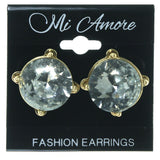 Silver-Tone & Gold-Tone Colored Metal Stud-Earrings With Crystal Accents #1617
