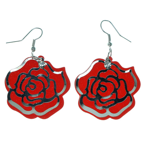 Rose Sparkle Dangle-Earrings With Crystal Accents Red & Silver-Tone Colored #1626