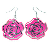 Rose Sparkle Dangle-Earrings With Crystal Accents Pink & Silver-Tone Colored #1629