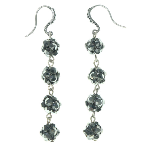 Silver-Tone & Black Colored Metal Dangle-Earrings With Crystal Accents #1631