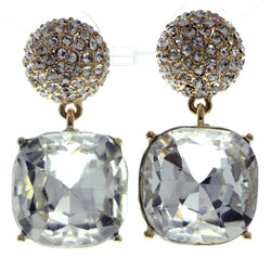 Gold-Tone & Silver-Tone Colored Metal Dangle-Earrings With Crystal Accents #545