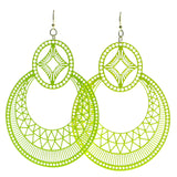 Filigree Dangle-Earrings Yellow Color  #547