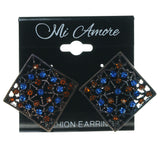 Brown  & Blue Colored Metal Stud-Earrings With Crystal Accents #1640