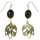 Gold-Tone & Brown Colored Metal Dangle-Earrings With Bead Accents #1641