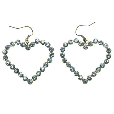 Heart Dangle-Earrings With Crystal Accents Gold-Tone & Silver-Tone Colored #1643
