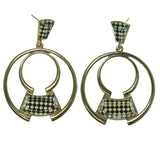 Checkered Dangle-Earrings With Faceted Accents Gold-Tone & Black Colored #1647