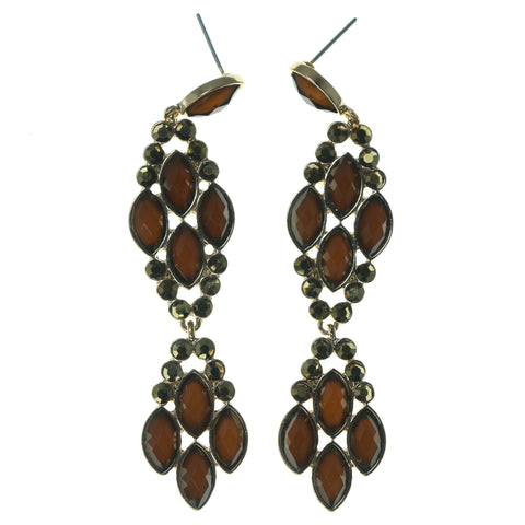 Brown & Gold-Tone Colored Metal Dangle-Earrings With Faceted Accents #1660