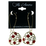 Red & Gold-Tone Colored Metal Dangle-Earrings #1662