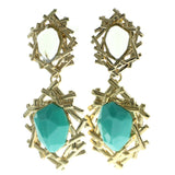 Gold-Tone & Blue Metal Drop-Dangle-Earrings With Faceted Accents #549