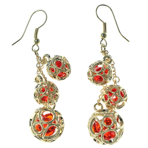Gold-Tone & Red Colored Metal Dangle-Earrings With Crystal Accents #1673