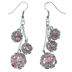 Silver-Tone & Pink Colored Metal Dangle-Earrings With Crystal Accents #1667