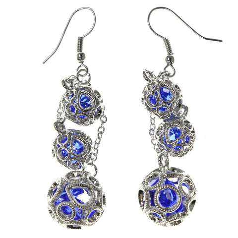 Silver-Tone & Blue Colored Metal Dangle-Earrings With Crystal Accents #1669