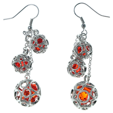 Silver-Tone & Red Colored Metal Dangle-Earrings With Crystal Accents #1670