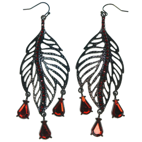 Leaf Dangle-Earrings With Crystal Accents Bronze-Tone & Red Colored #1674