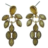 Gold-Tone & Yellow Colored Metal Dangle-Earrings With Faceted Accents #1675