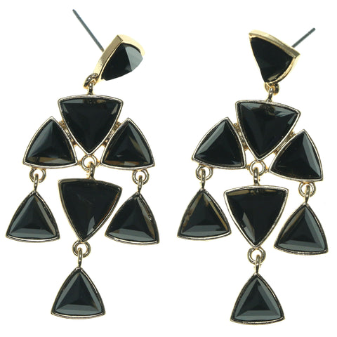 Gold-Tone & Black Colored Metal Dangle-Earrings With Bead Accents #1686
