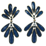 Blue & Gold-Tone Colored Metal Dangle-Earrings With Faceted Accents #1693