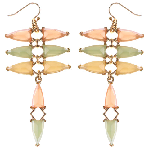 Dangle Earrings With Faceted Accents Gold-Tone & Multi Colored #1695