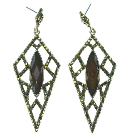 Gold-Tone & Brown Colored Metal Dangle-Earrings With Crystal Accents #1701