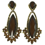 Gold-Tone & Brown Colored Metal Dangle-Earrings With Crystal Accents #1702