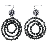 Black & Silver-Tone Colored Metal Dangle-Earrings With Bead Accents #1711