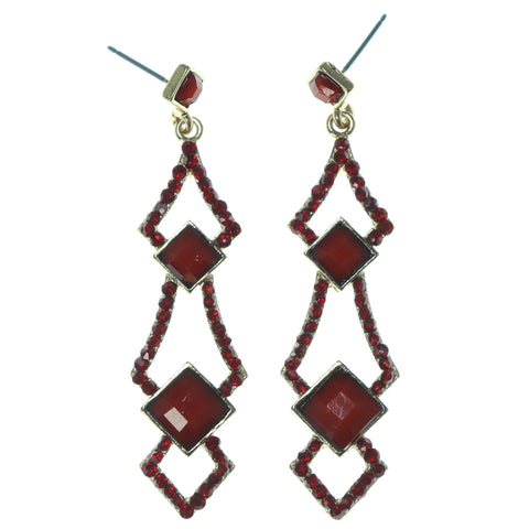 Red & Gold-Tone Colored Metal Dangle-Earrings With Faceted Accents #1716