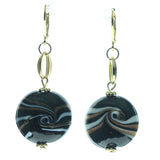 Black & Gold-Tone Colored Metal Dangle-Earrings With Bead Accents #553