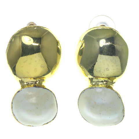 Gold-Tone & White Colored Metal Dangle-Earrings #1729
