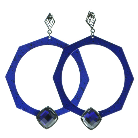 Blue & Black Colored Metal Hoop-Earrings With Faceted Accents #554