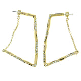 Gold-Tone Metal Hoop-Earrings With Crystal Accents #1741