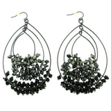 Gray Metal Dangle-Earrings With Bead Accents #1762