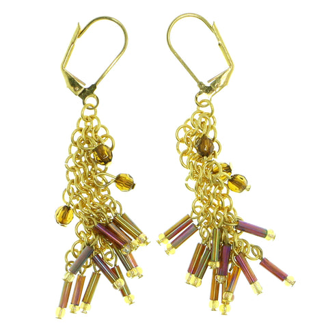 AB finish Dangle-Earrings With Bead Accents Colorful & Gold-Tone Colored #1766